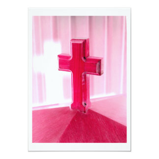 Wooden cross, red version photograph church 5x7 paper invitation card