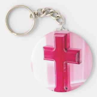Wooden cross, red version photograph church key chain