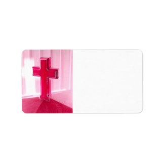 Wooden cross, red version photograph church custom address label