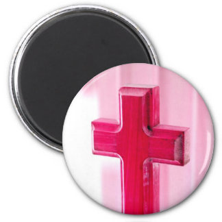 Wooden cross, red version photograph church refrigerator magnet