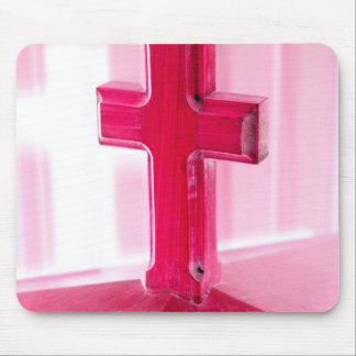 Wooden cross, red version photograph church mousepad