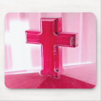 Wooden cross, red version photograph church mouse pad