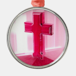 Wooden cross, red version photograph church christmas ornaments