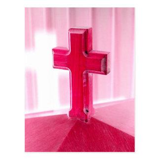Wooden cross, red version photograph church postcards