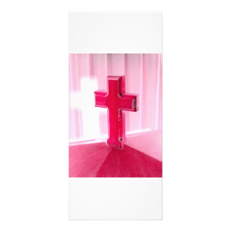 Wooden cross, red version photograph church personalized rack card