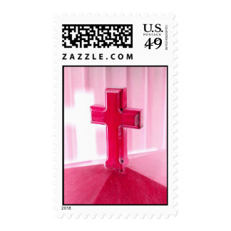 Wooden cross, red version photograph church stamps