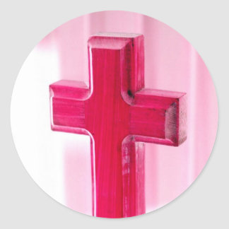 Wooden cross, red version photograph church round stickers