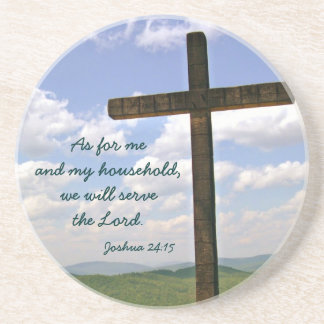 Wooden Cross Serve The Lord Christian Coasters