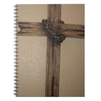 Wooden cross spiral notebook