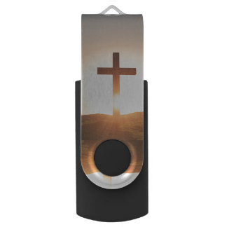 Wooden Cross Swivel USB 2.0 Flash Drive