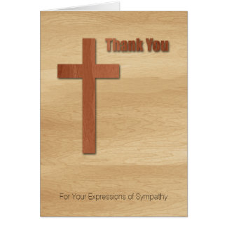 Wooden Cross Sympathy Thank You 2 Card