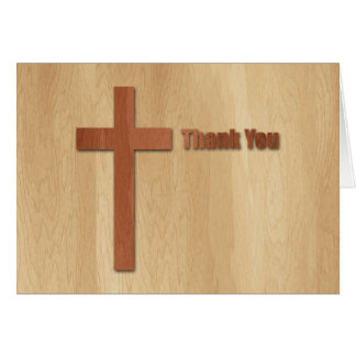 Wooden Cross Sympathy Thank You 3 Card