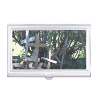 wooden crosses business card case