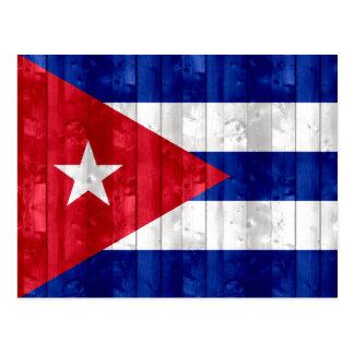 Wooden Cuban Flag Postcard