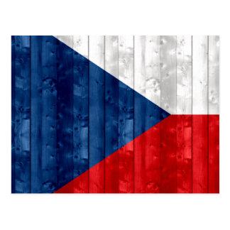 Wooden Czech Flag Postcard