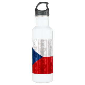 Wooden Czech Flag Stainless Steel Water Bottle
