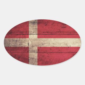 Wooden Denmark Flag Oval Sticker