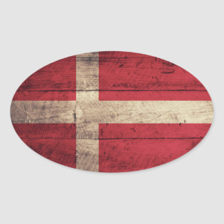 Wooden Denmark Flag Oval Stickers