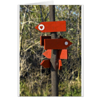wooden direction sign card