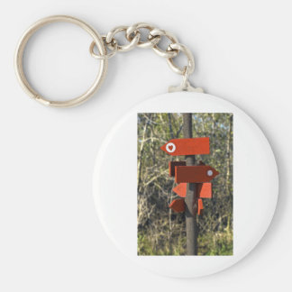 wooden direction sign keychain