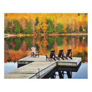 Wooden Dock On Autumn Lake Panel Wall Art