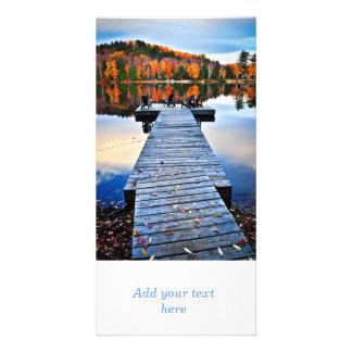 Wooden dock on autumn lake photo cards