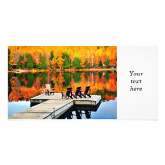 Wooden dock on autumn lake photo greeting card