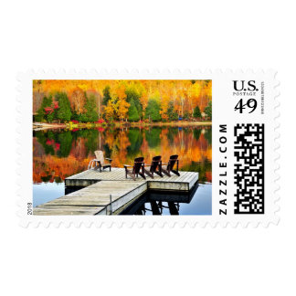 Wooden Dock On Autumn Lake Postage