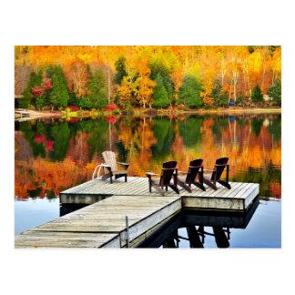 Wooden Dock On Autumn Lake Postcard