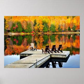 Wooden Dock On Autumn Lake Poster