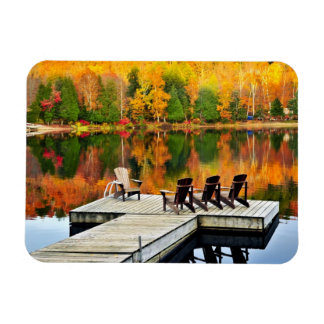 Wooden Dock On Autumn Lake Rectangle Magnets