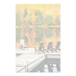 Wooden Dock On Autumn Lake Stationery