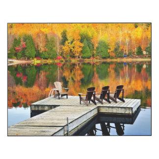 Wooden Dock On Autumn Lake Wood Wall Art