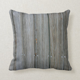 wooden dock planks with screws throw pillow