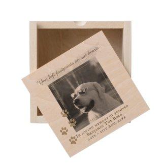 Wooden Dog Photo Memorial Custom Text Keepsake Box