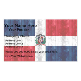 Wooden Dominican Flag Business Card
