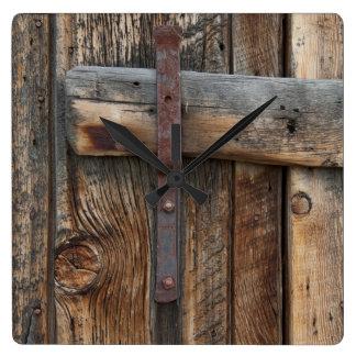 Wooden door close-up, California Square Wall Clock