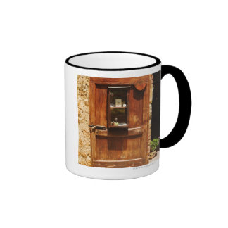 Wooden door of a house, Monteriggioni, Siena Ringer Coffee Mug