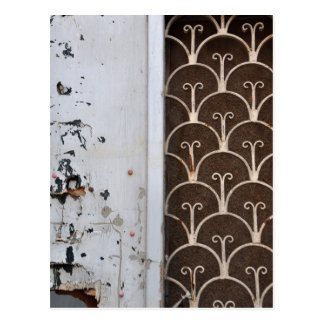 wooden door rusty pattern postcard