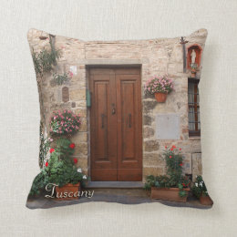 Wooden Door Tuscany Italy Personalized Throw Pillow