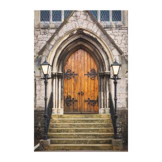 Wooden doors at entrance canvas print