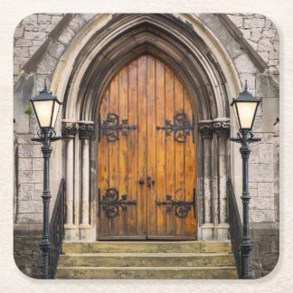 Wooden doors at entrance square paper coaster