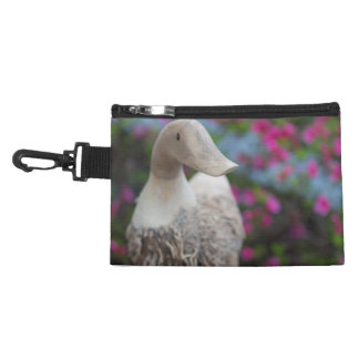 Wooden duck head with flowers accessory bag