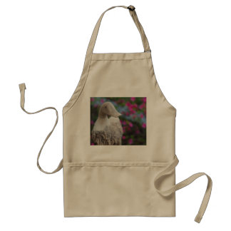 Wooden duck head with flowers adult apron