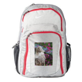 Wooden duck head with flowers backpack