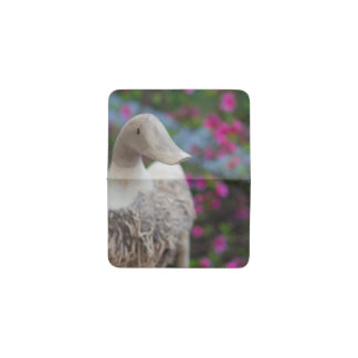 Wooden duck head with flowers business card holder