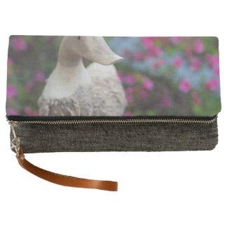Wooden duck head with flowers clutch