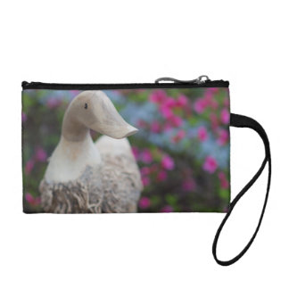 Wooden duck head with flowers coin purse