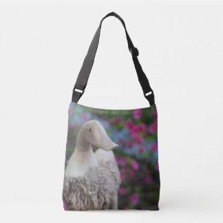 Wooden duck head with flowers crossbody bag
