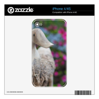 Wooden duck head with flowers decals for the iPhone 4S
